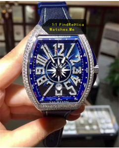 Franck Muller Yachting V45 Blue With Diamonds Bezel Watch N-Factory