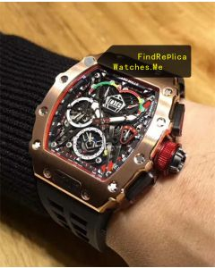 Richard Mille RM 50-03 18k-Gold With Black Strap Watch