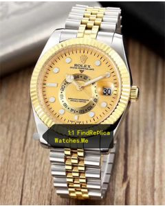 Rolex Sky Dweller Gold Face With Stainless Steel