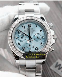 Rolex Daytona Ice Blue Face Steel Body Chronograph Watch