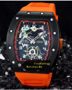 Richard Mille RM 036 Black Bezel With Orange Rubber Strap