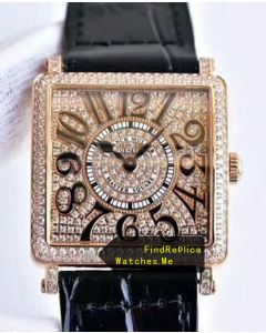 Franck Muller Master Square Rose Gold Body With Diamonds Face