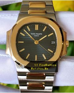 Patek Philippe Nautilus 5711 Blue Face Gold Bezel Steel Watch