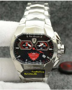 Lamborghini Red Dail Watch Stainless Steel 7809A