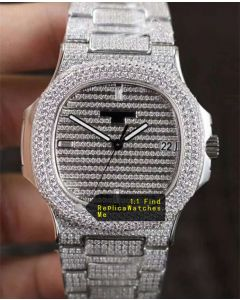Patek Philippe Nautilus 5719/10G-010 Full Diamonds Sports Watch