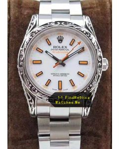 Rolex Milgauss 116400-72400 Carving Art Bezel With White Face