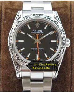 Rolex Milgauss 116400-72400 Carving Art Bezel With Black Face