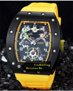 Richard Mille RM 036 Black Bezel With Yellow Rubber Strap