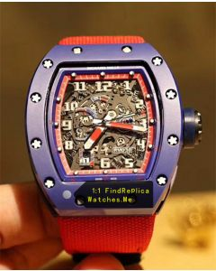 Richard Mille RM 030 Blue Case Red Inner Frame With Red Nylon Strap