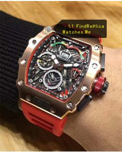 Cheap Richard Mille RM 50-03 18k-Gold With Red Strap Watch